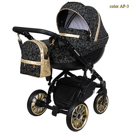 Детская коляска Amadeo Premium - новейшая модель коляски 2в1, обшита брендовой тканью с переплетением золотой и серебренной нити.