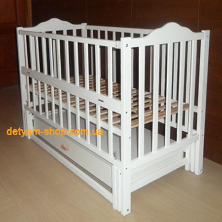 Карпаты-люкс белая - кроватка на шарнирах с деревянным закрытым ящиком