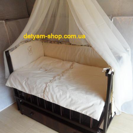 Набор Мишутка - кроватка+матрац+комплект с 8 предметов+держатель + конверт