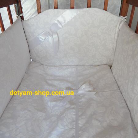 Белоснежка - набор красивого белого комплекта в кроватку, 120*60 см
