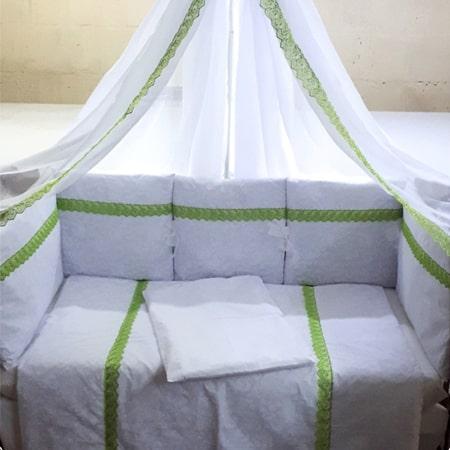 Легкость - набор постельного белья с кружевом и бортиками-подушечками