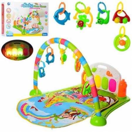 Коврик-пианино 6016 со съемной дугой и игрушками