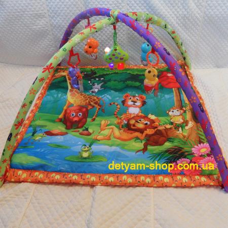 Джунгли 8933  - музыкальный развивающий коврик на дугах c игрушками