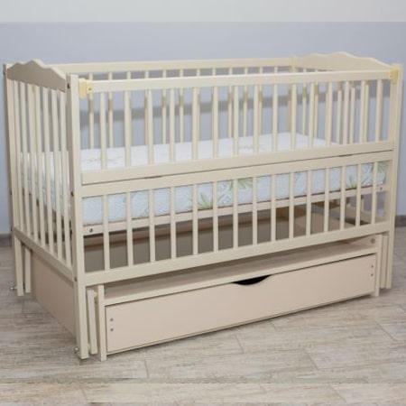 Веселка-люкс слоновая кость с ящиком - кроватка на шарнирах с закрытым ящиком