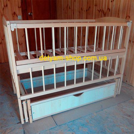 Ангелочек детская кроватка на шарнирах с ящиком