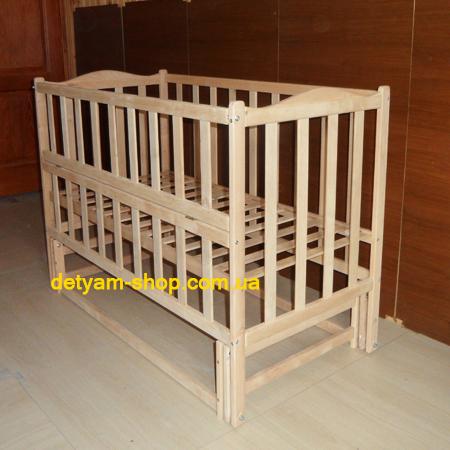 Сонятко-2 - детская нелакированная кроватка на шарнирах со стопором