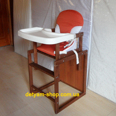 Бук-трансформер - деревянный стульчик с ремнями безопасности и столешницей-подносом