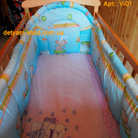 Веселка цельная плотная защита в детскую кроватку 120*60