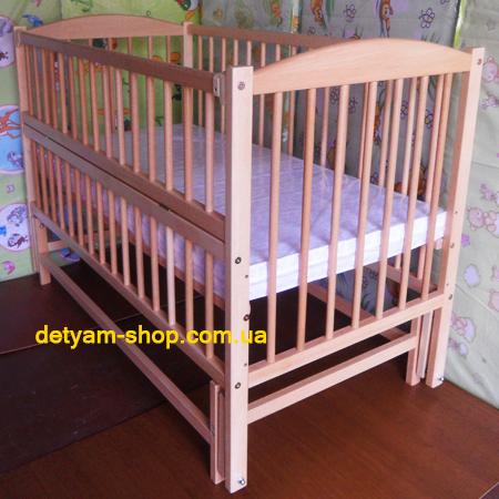 Веселка - люкс - кроватка на шарнирах с откидной стенкой